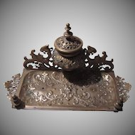 Very Ornate Old Brass Inkwell Writing Station Sartyr Face and Dragons
