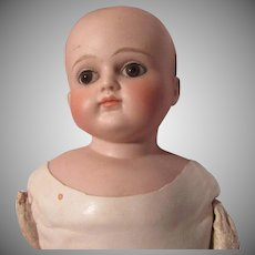 Antique French Or German Doll Bisque Head Leather Body Sawdust Filled