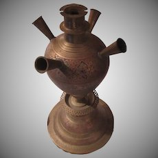 Old Ornate Brass Hookah India Middle East