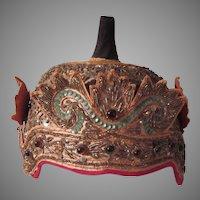 Asian Oriental Hat Metal Threads Glass Beads