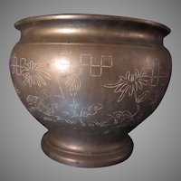 Old Heavy Bronze Large Planter Engraved Designs