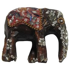Asian Indian Jeweled Beaded Mirror Elephant Figurine
