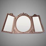 Triple Dresser Table Vanity Mirror Italian Modern Off-White