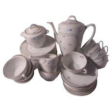 Cerabel Fine Porcelain Tea Coffee Dessert Set Blue Flowers Teapot Cups Plates