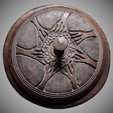 Heavy Carved Round Box Bowl With Lid Animals  India