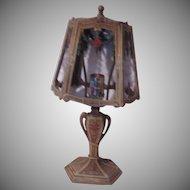 Old Painted Metal Lamp With Metal Shade