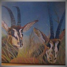 Antelopes Original Painting Artist Signed Fine Art