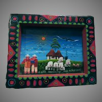 Vintage South American Folk Art Miniature Painting