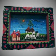 Vintage South American Folk Art Miniature Painting