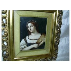 Miniature Painting  Portrait Of A Woman By Piombo Framed Art - Red Tag Sale Item