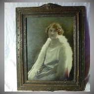 Gustave Lorey Signed Hand Colored Photograph Beautiful Lady Art Deco Frame