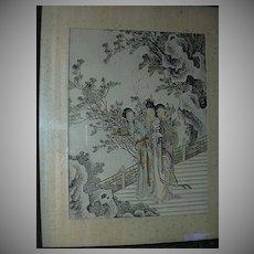 Old Japanese Oriental Print Beautiful Ladies In Garden