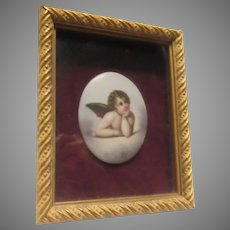 Hand Painted Porcelain Angel Cherub With Wings Shadowbox Frame