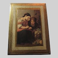 Italian Florentine Art Plaque Gold Gilt