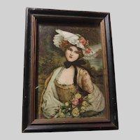 Miniature Art Framed Print Beautiful Lady