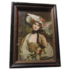 Miniature Art Framed Print Beautiful Lady