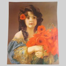 Olld German Print Girl With Red Flowers Poppies