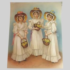 Old Large Print Girls With Flower Baskets