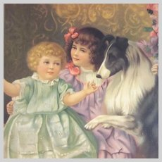 Large Old Print Girls With Pet Dog