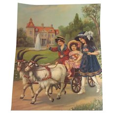 Large Old Print Children With Goats and Carriage