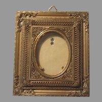 Antique Miniature Picture Frame Ornate Gilt Metal