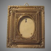 Antique Miniature Picture Frame Ornate Gilt Metal