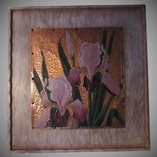 Iris Flowers Painting On Copper Art