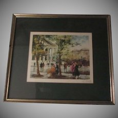 Le Bailly Signed Art French Street Scene Print