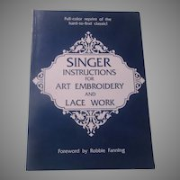Singer Instructionss for Art Embroidery Lace Work Book