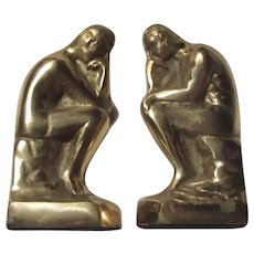 Set Brass Bookends The Thinker Statue
