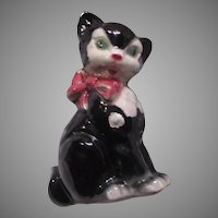 Royal Copley Large Black White Cat Kitten Statue Figurine