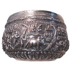 Fine Large Burmese Silver Bowl Fabulous Details Signed