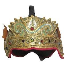 Burmese or Asian Ceremonial Cap Hat Decorative Textiles Art