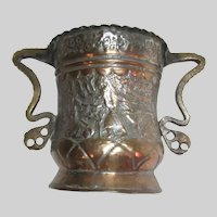 Old Middle Eastern Tinned Copper Large Vessel Islamic Designs