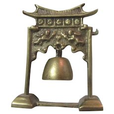 China Brass Small Hanging Bell In Stand