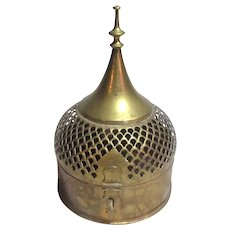 Large Brass India Fancy Covered Round  Box With Spire