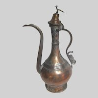 Middle Eastern Antique 19th C Turkish Copper Ewer Pitcher Signed