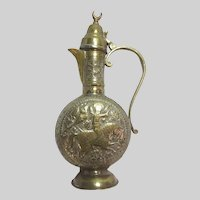 Middle Eastern Brass Islamic Ewer Pitcher Rider On Horse With Bird