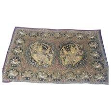 Old Burmese Kalaga Embroidery Jeweled Textile Art Large