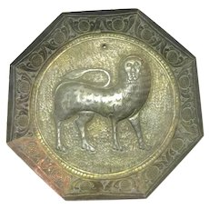 Old Brass Small Plaque Lion Eastern Design