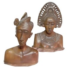 Pair Old India Kashmir Carved Wood Busts Statues Lady & Gent