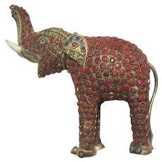 Old Tibet Elephant Figurine Fine Metalwork