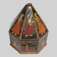 India Hand Painted Wood Unusual Pyramid Box