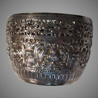 Sterling Silver Bowl Pierced Decorative Burmese