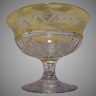 Set 6 Crystal or Glass Etched Sherbets Champagnes Stemware Clear Yellow