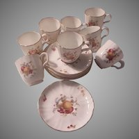 Set 7 Demitasse Cup Saucers Royal Worcester Delecta