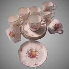 Set 7 Demitasse Cup Saucers Royal Worcester Delecta