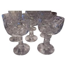 Set 8 Sherbets Goblets Etched Unusual Cubed Stems Fine Dining Stemware