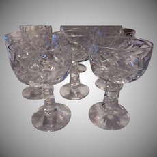 Set 8 Sherbets Goblets Etched Unusual Cubed Stems Fine Dining Stemware