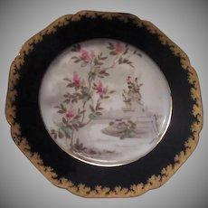 Haviland Limoges Garden Floral Scene Plate Pink Flowers Cobalt Gold Trim